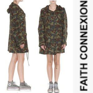 Faith Connexion Camo Silk Parka Dress L